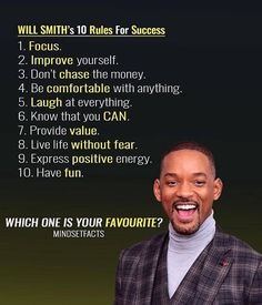 Which one is your favorite? Will Smith's 10 Rules … Which one is your favorite? Will Smith's 10 Rules For Success The post Which one is your favorite? Will Smith's 10 Rules … appeared first on Best Pins for Yours - Life Quotes Inspirational Quotes About Success, Motivational Videos, Success Quotes, Great Quotes, Quotes To Live By, Positive Quotes, Life Quotes, Work Quotes, Focus Quotes