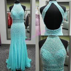 2016 Major Beading Prom Dresses With Beaded High Collar And Open Back Pearls Turquoise Chiffon Fashion Prom Gowns For Ring Dance Prom Dresses For Kids Prom Dresses For Sale From Nicedressonline, $267.02  Dhgate.Com