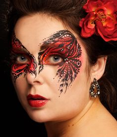 red and black striking mask face painting by Eye Dare You - Adult Facepainting - Gallery 1