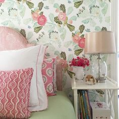 Anthropologie wallpaper, Peggy Angus fabric bedhead and cushion fabric, Matouk bedding by Melinda Hartwright Interiors