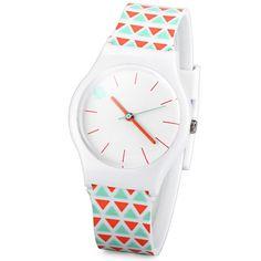 $4.41 Stylish Quartz Watch Triangle Pattern Analog Indicate Rubber Watch Band for Women