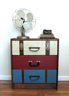 IMG_4678-suitcase-dresser-chalk-paint-ikea-rast-hack-732x1024 Ikea Rast Dresser, Three Drawer Dresser, Dresser Drawers, Driftwood Stain, Campaign Furniture, Modern Dresser, Aging Wood, Ceramic Knobs, Diy Desk