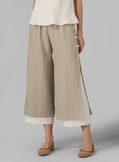 Linen Double-Layer Pants - Plus Size Miss Me Outfits, Cool Outfits, Casual Outfits, Fashion Pants, Boho Fashion, Sewing Pants, Plus Clothing, Flare Leg Pants, Pantalon Large