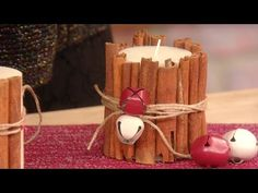 DIY Cinnamon Candle Holder | Rustic Christmas Decorations (part 2) - YouTube