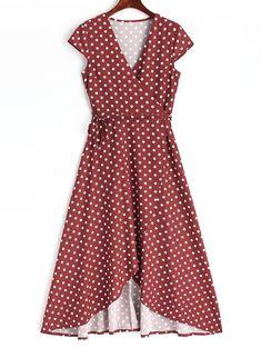 Polka Dot Wrap Asymmetrical Maxi Dress - WINE RED M