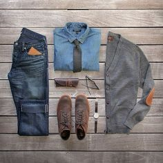 Adding a tie and cardigan to this outfit add a lot of classic timeless swagger.