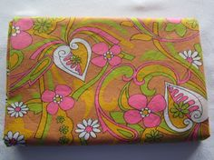 Groovy Retro Fabric Vintage Fabric by FancyVintageFinds on Etsy, $13.00