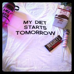 "My Diet Starts Tomorrow Tee Shirt White XL Short Sleeve Graphic Tee ""My Diet Starts Tomorrow"" New only tried on. (Reposh) Clearly my diet starts today because it was too small for me. Tops Tees - Short Sleeve"