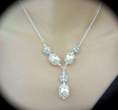 Pearl necklace  Crystal Rhinestones  by QueenMeJewelryLLC on Etsy