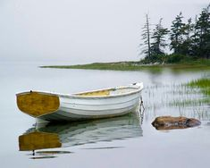 White Dory Wooden Row Boat during high tide on a Misty Morning by Mount Desert Island in Maine - A Seascape Boat Photograph Wooden Row Boat, Wooden Boat Building, Boat Building Plans, Boat Plans, Wooden Boats, Make A Boat, Build Your Own Boat, Old Boats, Small Boats