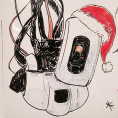 The holidays are over, but dry-erase Santa GLaDOS remains. (I just really felt the need to post something. Maybe I will now feel the need to draw something. *sits and waits for it*)