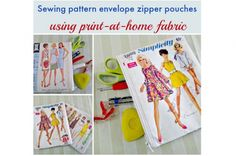 Tutorial: Vintage sewing pattern envelope zippered pouch, plus a free printable