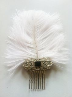 Art Deco Feather Bridal Hair Comb-1920s Flapper Vintage Wedding-The Great…