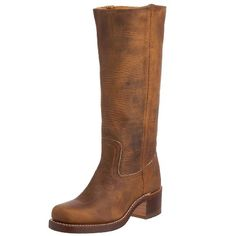 "This Frye dark brown campus boot has a stout 2"" heel and is knee high. Several customers stated that they were much better looking in person than the picture. Average rating on Amazon was 4.3 out of 5 stars. FRYE Women's Campus 14L"