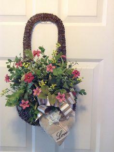Front door wreath Front door twig basket valentine hanging twig basket with heart pillow and burlap bow