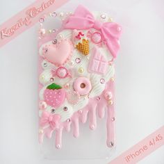 "Pink Whipped Cream & Frosting iPhone 4/4S Decoden Case | $30.00 "" SHOP: www.etsy.com/shop/kawaiixcouture Handmade decoden phone cases, jewelry, & accessories ♡ """