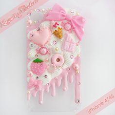 Kawaii x Couture Iphone 4, Iphone Shop, Iphone 6s Plus, Iphone Cases, Kawaii Phone Case, Decoden Phone Case, Diy Phone Case, Cute Cases, Cute Phone Cases