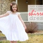 Make a shirred dress out of a woman's skirt. I don't know of any little girl who wouldn't like a dress that twirls.