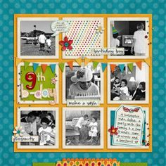 Layout: 9th bday (Cute layout for those old black & white pictures!!!)