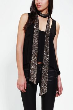 Mixed Metal Sequin Skinny Scarf