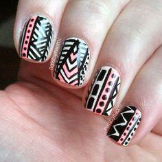 Tribal nails. Nail art. Nail design. Polish. Polishes. Polished. Manicure. By nailsbynaomi