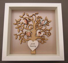 Personalised photo Wooden family tree box frame by LastingImpressions