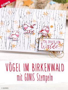 """Winterliche Karte """"Vögelchen im Birkenwald"""" stempeln Scrapbook Cards, Scrapbooking, Album, Bullet Journal, Tags, Books, Cards, German Men, Bird Stencil"""