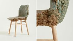 Well Proven Chair. Products and furniture made from wood generate between 50-80% waste in the form of sawdust, chippings and shavings. Combining these waste products with bio-resin turns to a porridge-like mixture and expands into a solid. With the addition of water or increased temperatures it can expand up to 700%. This material is then used to create the seat shell combined with a simple but beautiful leg structure of turned ash. Designed by James Shaw and Marjan van Aubel.