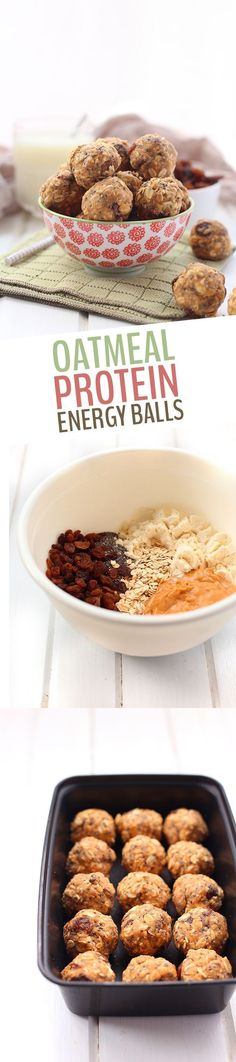 Healthy Snacks This simple and healthy little no bake oatmeal protein energy balls recipe is perfect for easy snacking on the go! With rolled oats, protein powder, peanut butter and a touch of honey, these energy balls will keep you satisfied for hours! Protein Snacks, Pancakes Protein, Healthy Protein, Healthy Sweets, Healthy Baking, Healthy Snacks, Healthy Recipes, Whey Protein, Easy Recipes
