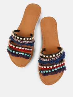 Shop Tribal Pop Bejewelled Slides BLACK online. SheIn offers Tribal Pop Bejewelled Slides BLACK & more to fit your fashionable needs.