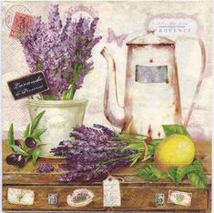 Napkin decoupage with this charming print of lavender in a cafe in Provence France , printed in Germnay on 3-ply paper. These are perfect for paper arts and crafts of many kinds,including collage and decoupage on glass, wood, candle, scrap booking , mixed media, and DIY projects. An excellent complement for the dining table and special events.  Each napkin is a standard luncheon size, measuring 6.5 x 6.5 (16.5 cm x 16.5 cm) folded, 13 x 13 (33 cm x 33 cm) when unfolded. You will receive 4…