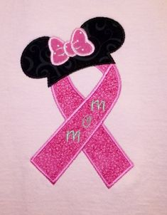 """Items similar to Miss Mouse """"MOM"""" Breast Cancer Ribbon embroidered shirt on Etsy Mouse Tattoos, Tattoos Skull, Volunteer Gifts, Volunteer Appreciation, Survivor Tattoo, Breast Cancer Tattoos, Minnie Mouse Costume, Alphabet And Numbers, Awareness Ribbons"""