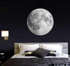 Moon wall decal Bedroom wall sticker Realistic moon Living - Trend Home Wall Decals For Bedroom, Bedroom Murals, Bedroom Themes, Home Decor Bedroom, Living Room Decor, Bedroom Designs, Awesome Bedrooms, Boy Room, Decoration