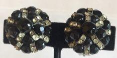 Black and Clear Rhinestone Earrings, Black Glass Beads, Clear Rhinestone Rondelles Vintage Stacked Earrings Clipons