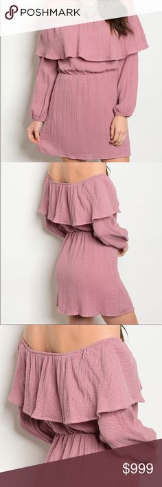 ✨Off The Shoulder Ruffle Dress✨ 💖Boho style long sleeve ruffle dress in Mauve. Lined💖✨95%Polyester 5%Spandex✨ Dresses Long Sleeve