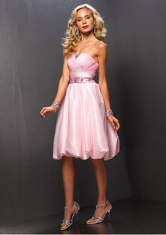Elegant A-Line Strapless Organza Prom Dress  Now:  $243.99