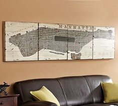 Would be cool to make my own version of this distressed map art with the state of Florida. Planked Manhattan Sign #potterybarn