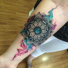 Mandala watercolor done with @becauryn  #mandala #mandalawatercolor #watercolourtattoo #balitattoostudio #godsofink…