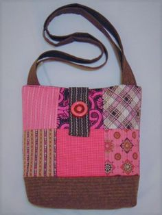 07ba4aec75 NEW HANDMADE QUILTED VINTAGE FABRIC HOT PINK CHOCOLATE PATCHWORK TOTE BAG  PURSE  fashion  clothing