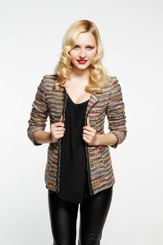 I love this jacket!  #pintowin #papercrownholiday I would style this with a cute black dress. The jacket is so colorful I would want it to be the star.