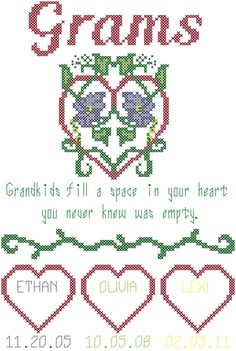 Modern Grams Cross Stitch Pattern - Grandkids quote with hearts,names and birthdates by oneofakindbabydesign on Etsy
