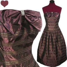 Dress Vintage 80s NOS Strapless Purple Metallic GOLD Prom Party Dress S Full Skirt Bow - Brought to you by Avarsha.com