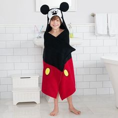 """Jumping Beans Mickey Mouse Bath Wrap 25"""" x 50"""" Hooded Lightwht Cotton Red Black"""