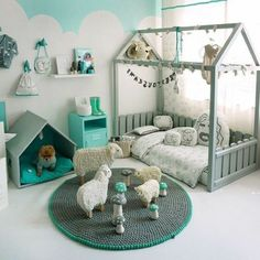 Perfect mint u gray kid bedroom