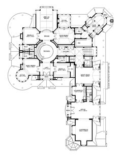 Upper Floor Plan of Chatham Hill Plan #M7550A5S-0DB. 10,275 sq ft + 1575 sq ft 3+2+ car garage. 5 bedrooms, 6 full baths, 3 half baths. 3 stories, rotunda stairway, wrap-around porch, bar, wine cellar, media room, game room, rec room, office and conference room, large craft room, music room, library and study with reading room.