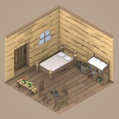 30 Days of Isometric Rooms / Day 7  #lowpoly #isometric #room #illustration #project #challenge #art #digitalart #cinema4d #modeling #3d #interior #infographic #design #designinterior #medieval #village #pirates #pirate #fish #fisherman #furniture #bed #table #flower #chair #chest #model