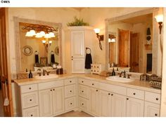 Framed Mirrors And L Shaped Counter Layout. Bathroom LayoutVanity ...