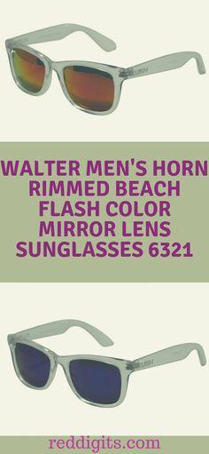 b4eb1fa4f8a Walter Men s Horn Rimmed Beach Flash Color Mirror Lens Sunglasses 6321  Flash color mirror lens Plastic