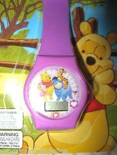 """Disney 9"""" Winnie the Pooh,Eeyore,Piglet,&Trigger Purple LCD Watch-New in Pkge!"""