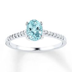 Zales 6.0mm Cushion-Cut Aquamarine and 1/20 CT. T.w. Diamond Promise Ring in Sterling Silver IrT7dC8OS